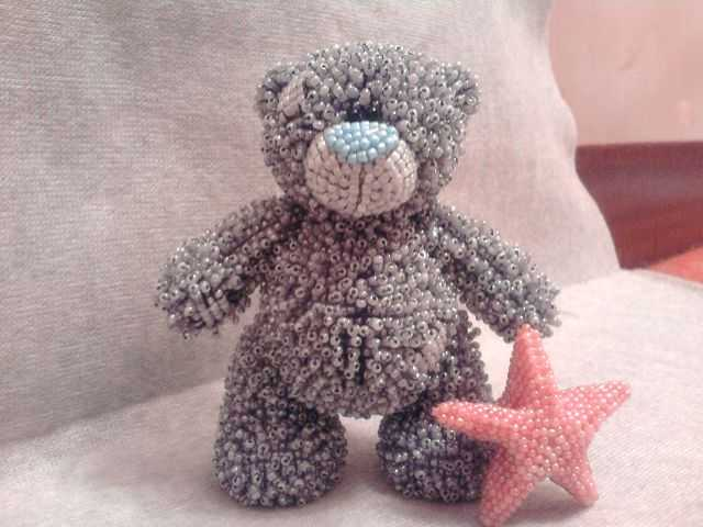 Мишка Тедди из бисера и из ткани своими руками - мастер класс
