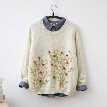 вышивка на свитере своими руками и украшение вязаного полотна