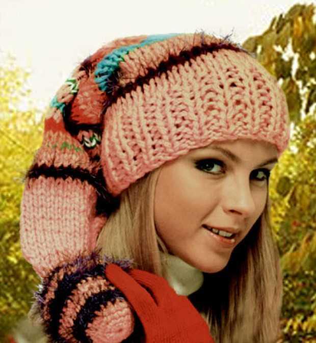 шапка колпак спицами вязание для взрослых и детей