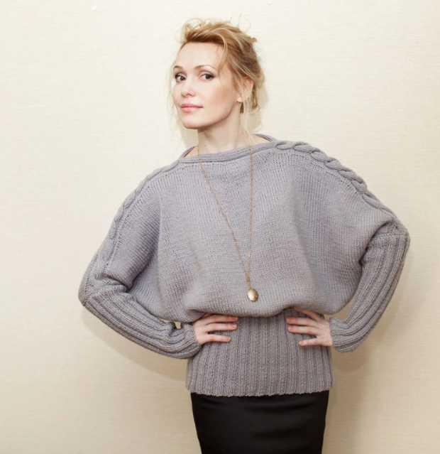 пуловер летучая мышь спицами техника вязания