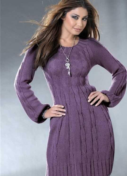 4bc1cfaad47 Теплое вязаное платье в схемах с описанием и видео мастер-классы