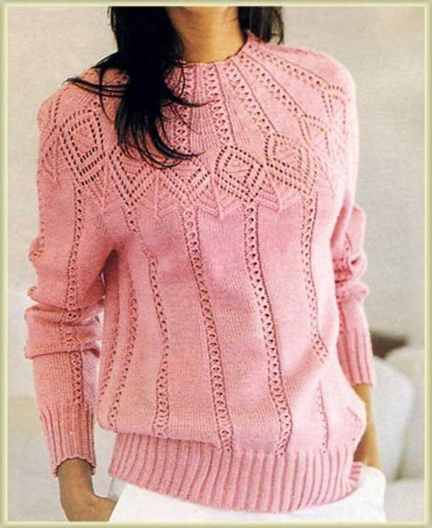 вязание пуловера с круглой кокеткой схемы видео