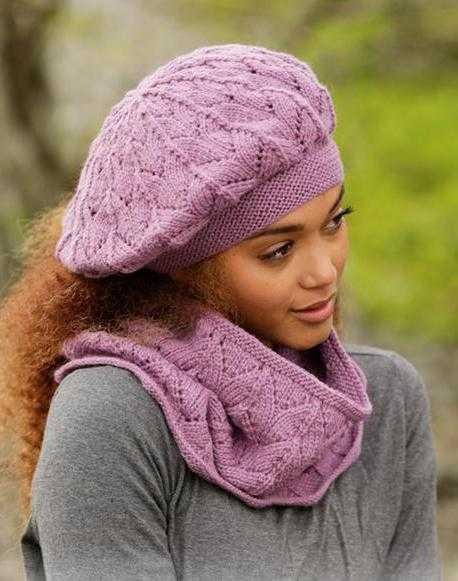 вязание ажурных беретов для женщин спицами