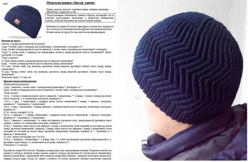 двойная мужская шапка спицами техника вязания