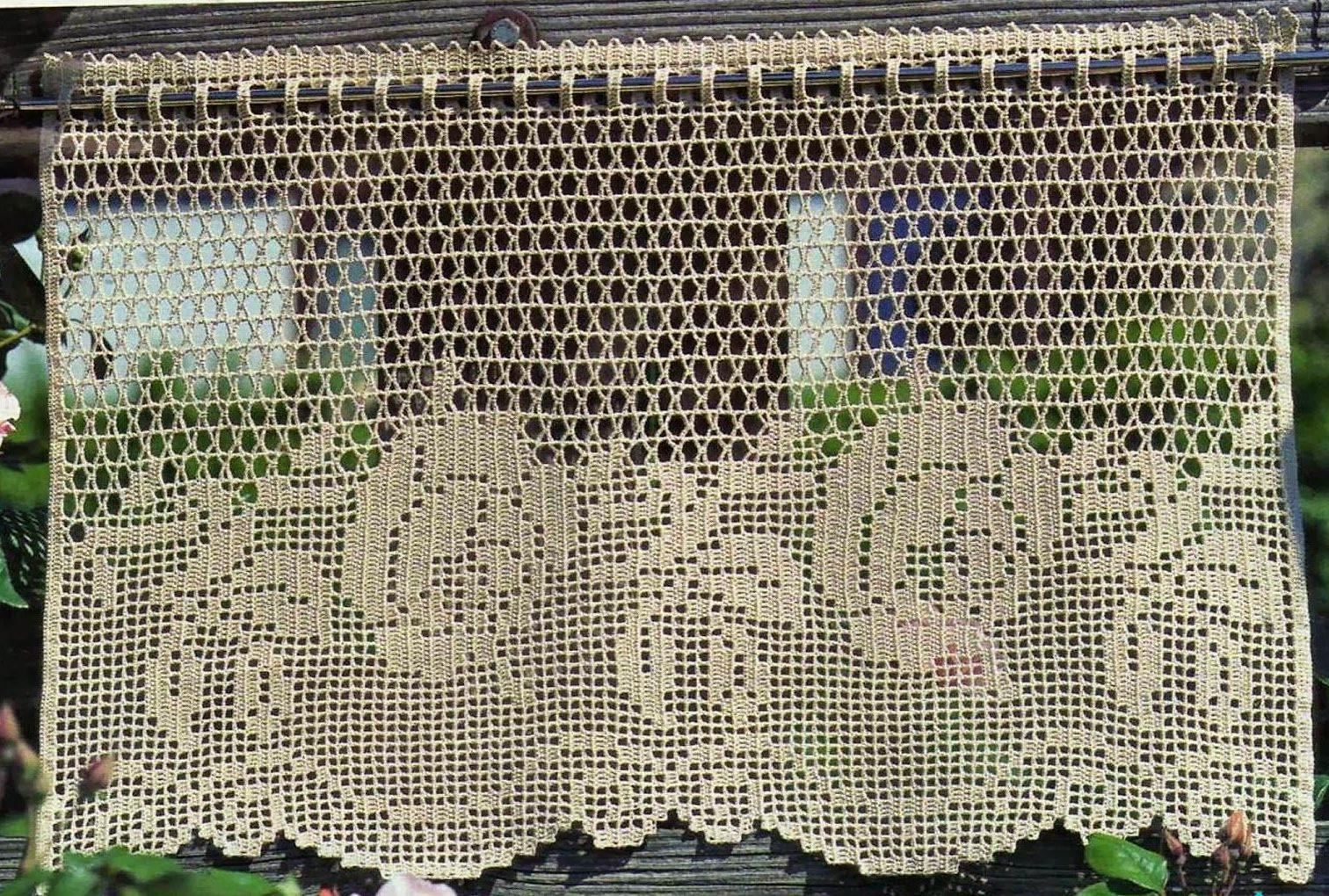 шторки в технике филейного вязания