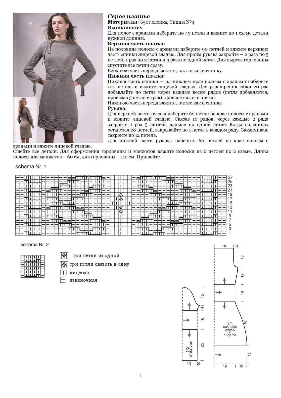 Вязание платья на спицах схемы и картинки