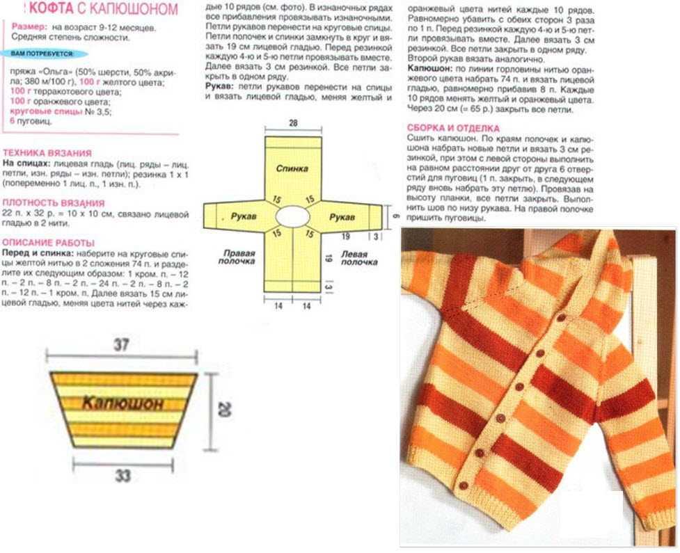 схемы вязания кофты для мальчика