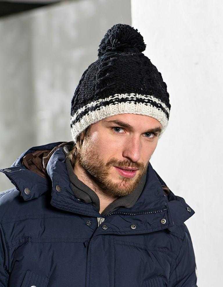 Мужская шапка с помпоном спицами схема фото 327