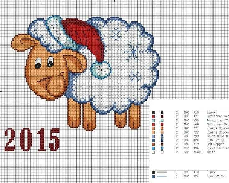 Схемы вышивки овцы крестом