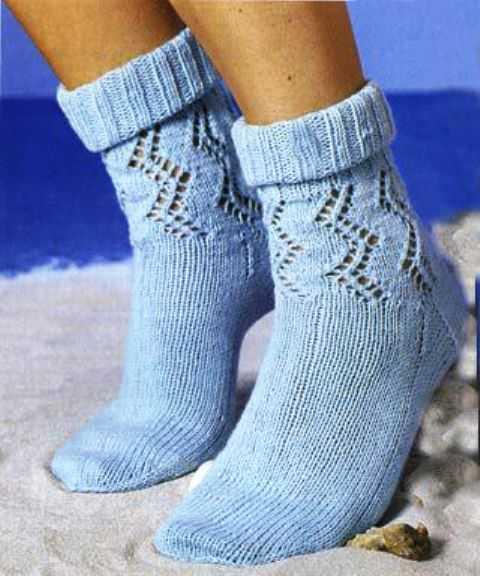 вязание ажурных носков спицами с описанием