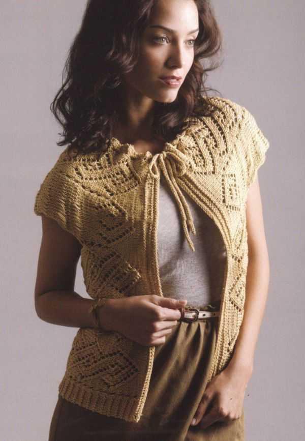 женский жилет ажурный вязание