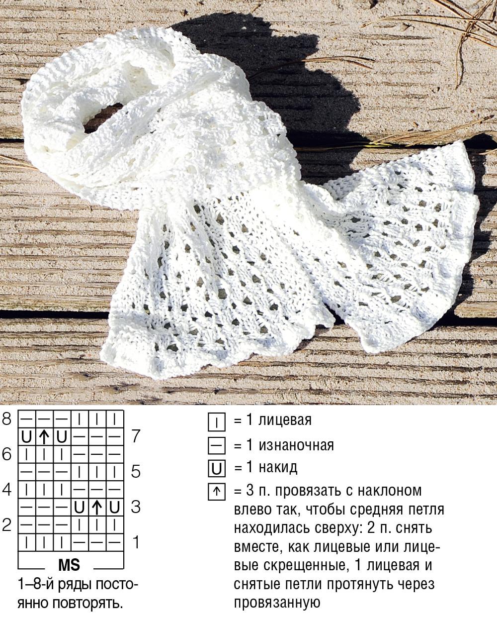 ажурный шарф крючком схема и описание