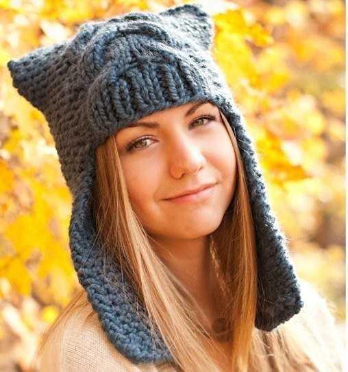 вязание спицами шапки с ушками по фото и видео урокам
