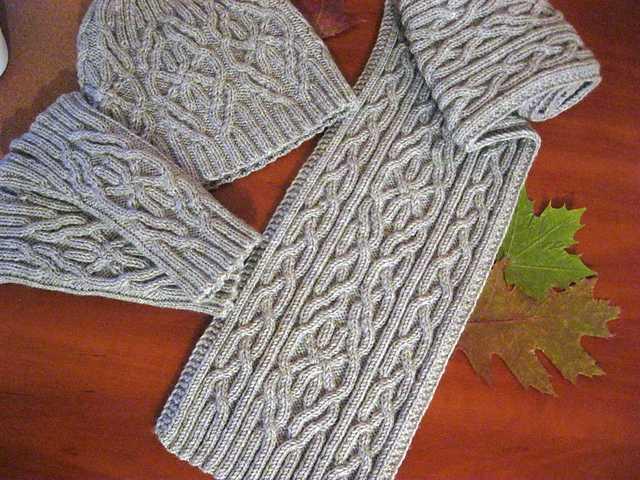 шарф косами спицами в пошаговых фото уроках с примерами схем