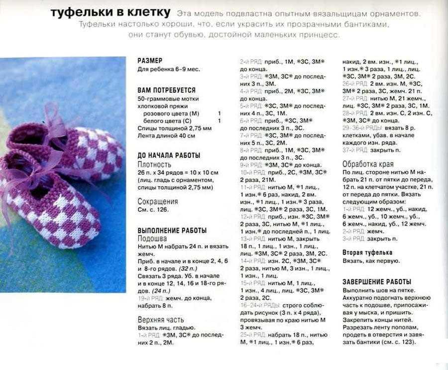 пинетки туфельки спицами с описанием фото одной программе