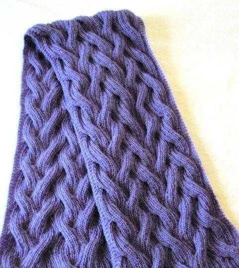 вяжем двухсторонние узоры спицами для шарфа по схеме