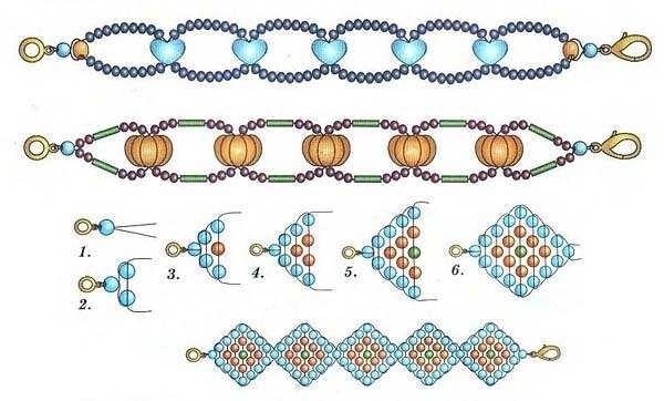 Схема плетение браслетов из бусинок