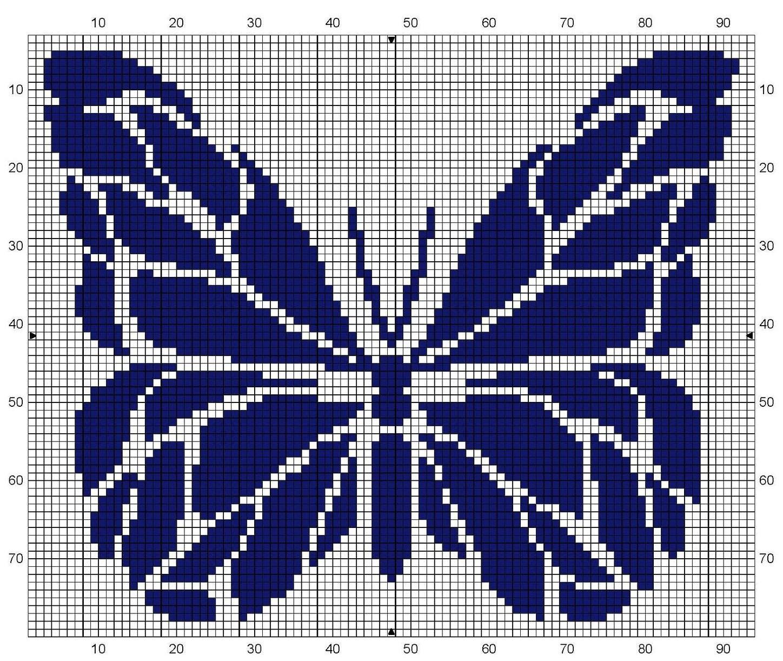 Филейное вязание бабочки