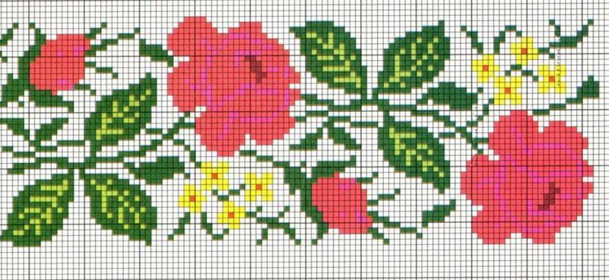 Филейное вязание цветов крючком