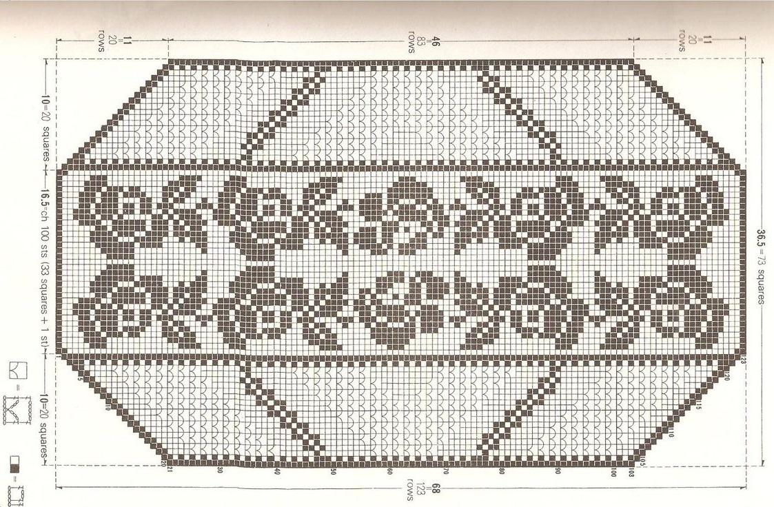 Филейное вязание мелких розочек
