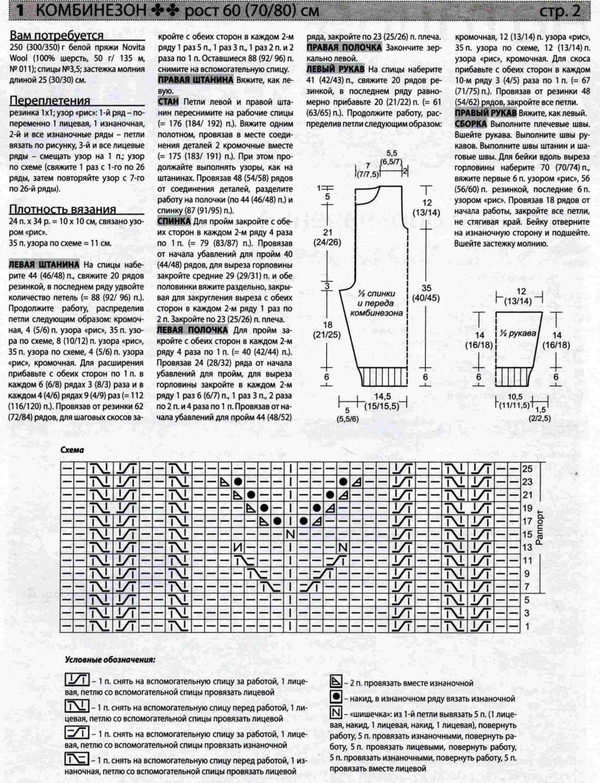 Схема вязанного для новорожденного комбинезона для