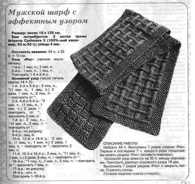 Вязание для мужчин шарф схемы 379