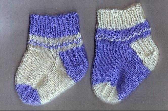 носочки спицами для малышей фото и вмдео урок вязания