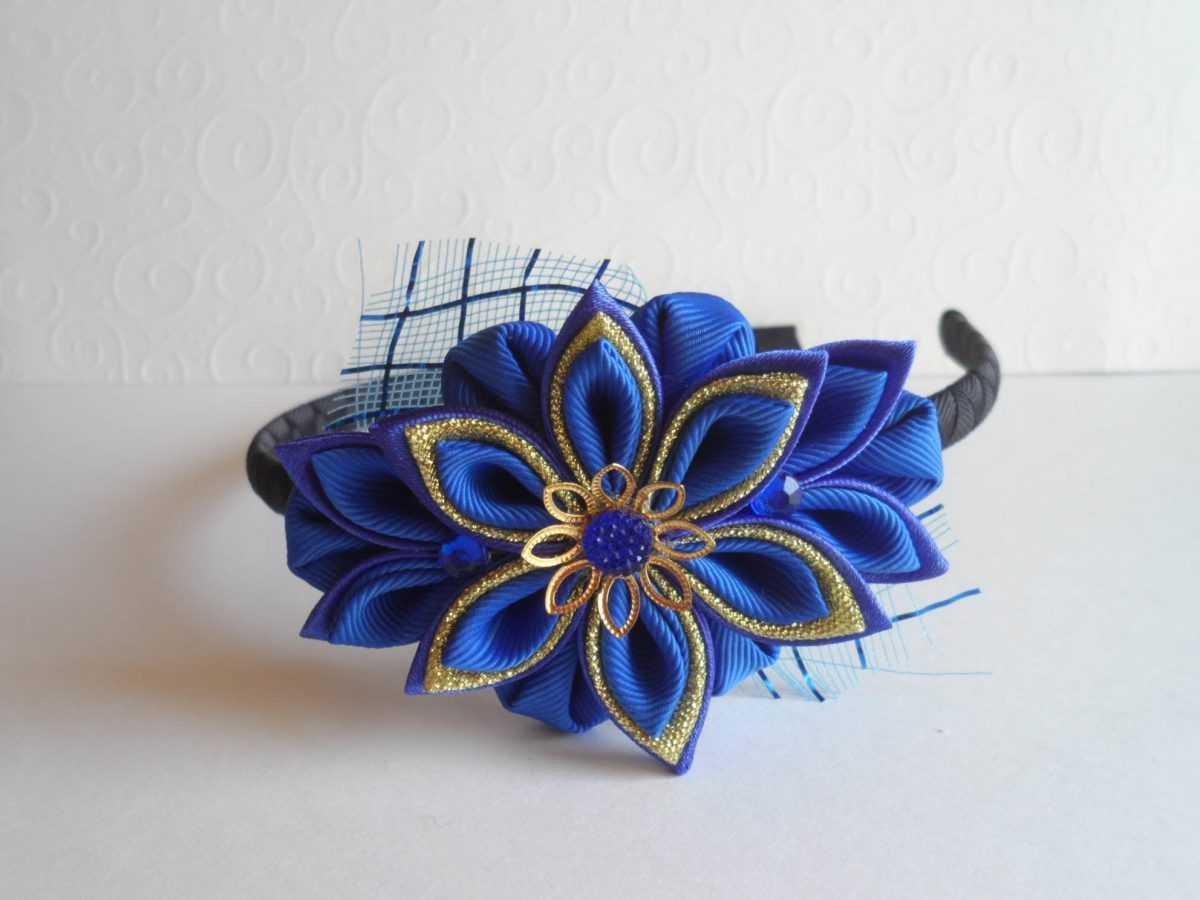 Цветок из ленты на ободок своими руками фото 634