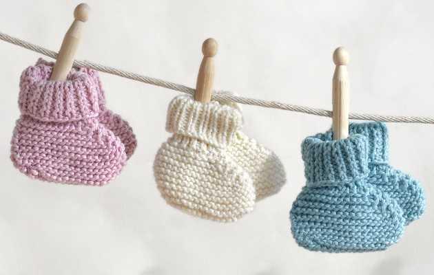 пинетки спицами для новорожденных мастер класс фото