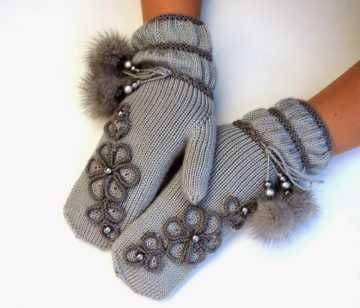 рукавицы вязаные спицами с красивой вязка и схемой узора