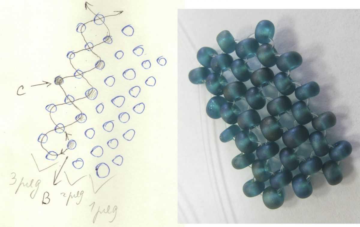 схема плетения сердечки из бисера