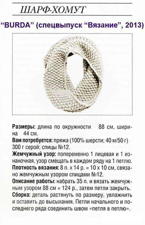 описание шарф хомут крючком схемы и описание фото задача сыщиков