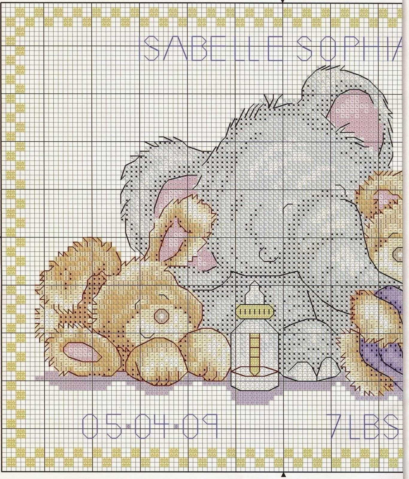 цветные схемы для вышивания крестиком детские метрики