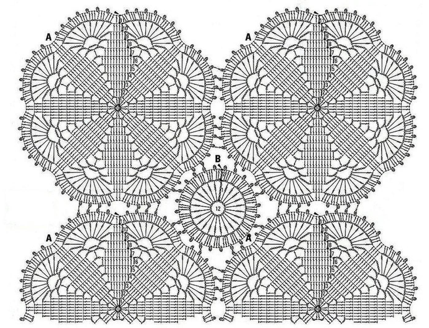 Схемы для филейного вязания туники крючком