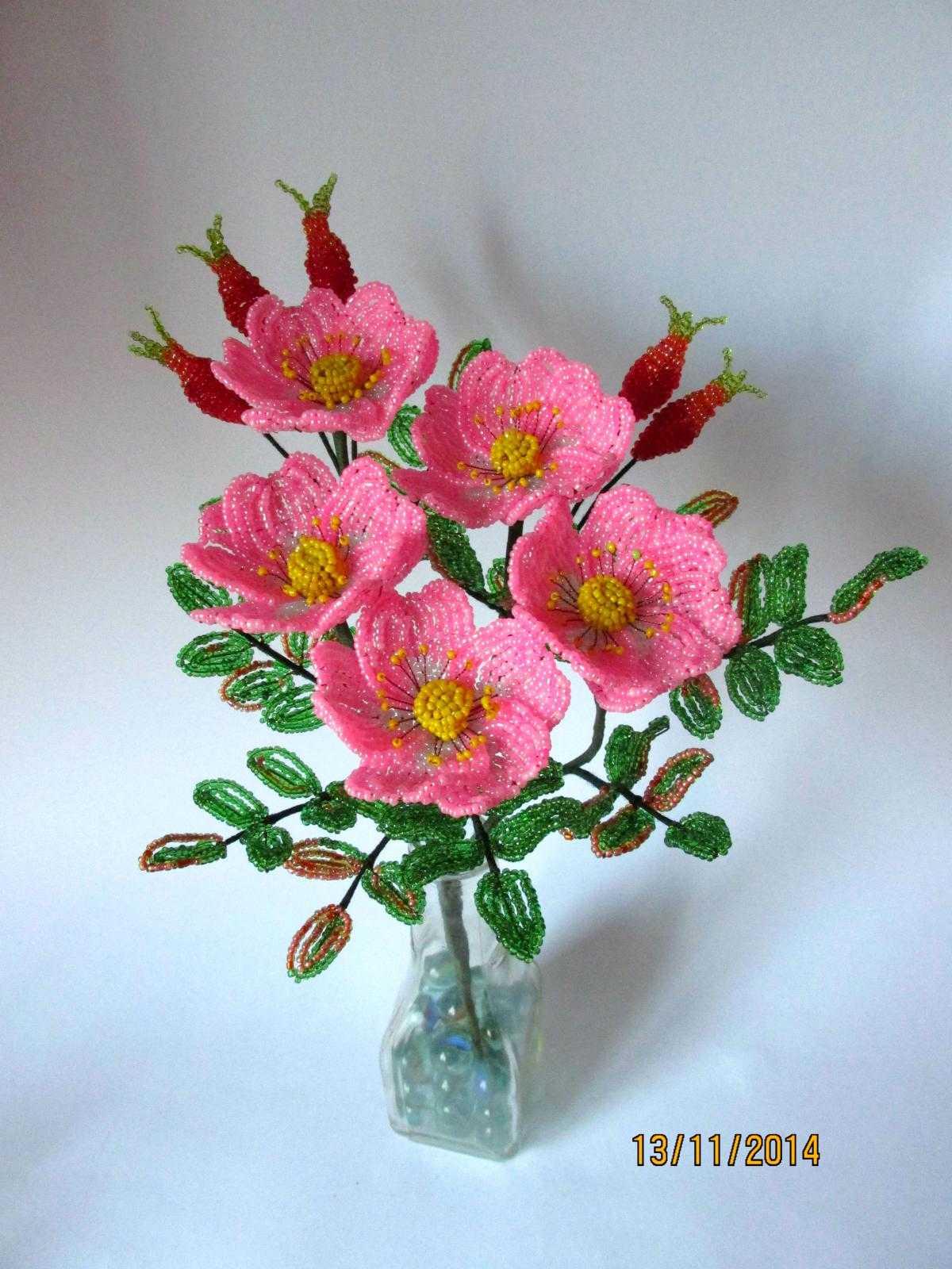 тебе цветы из бисера фото шиповник узнать, как купить