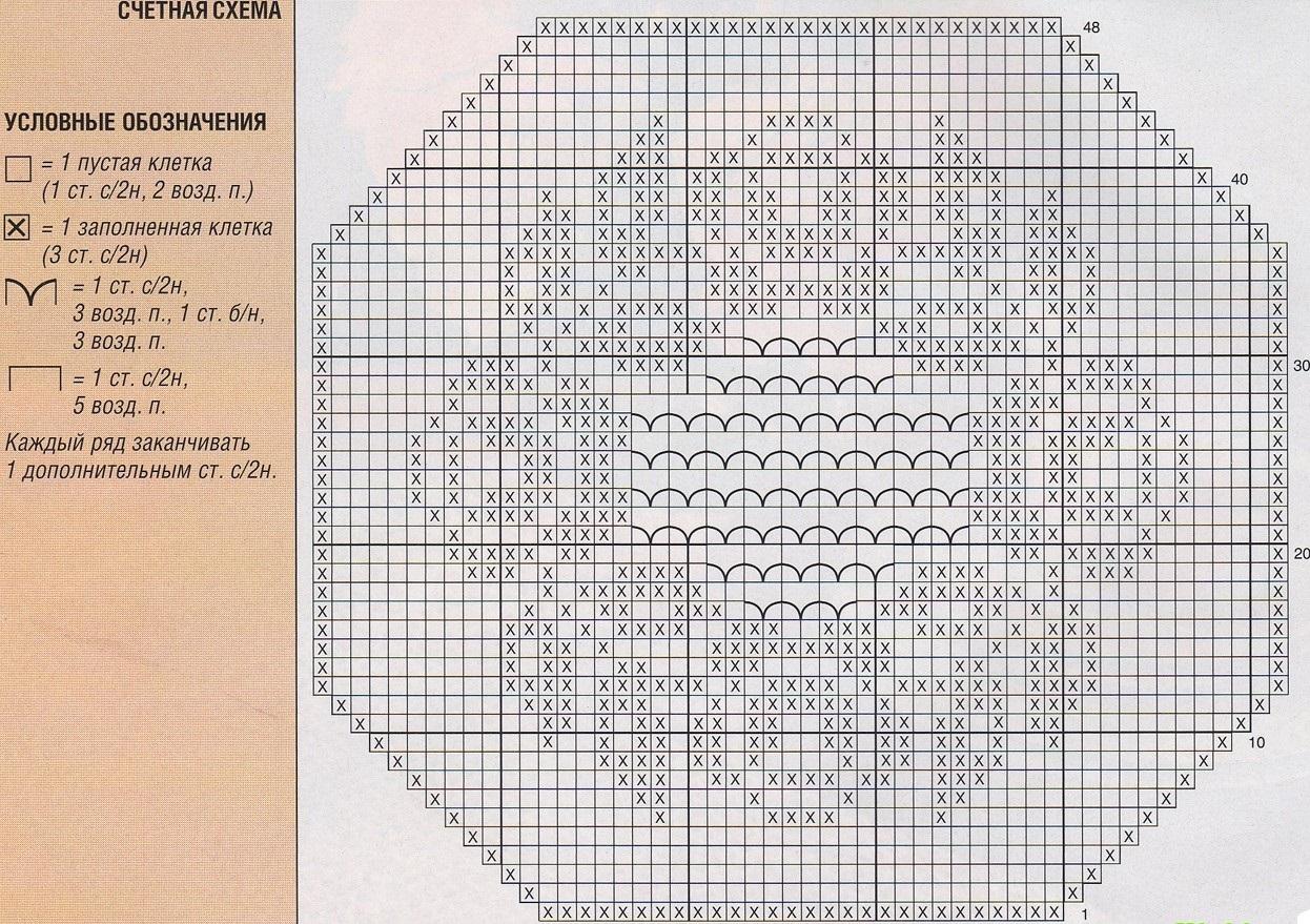 схема узора для вязания подушки в филейной технике