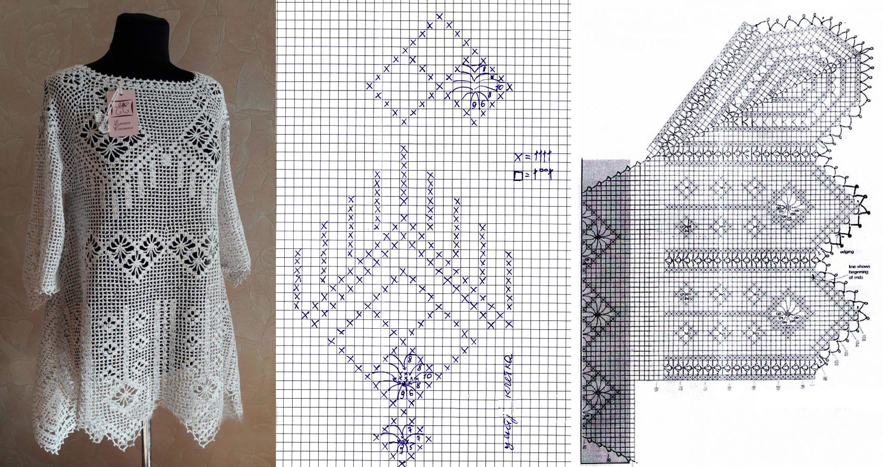 схема выполнения блузки «Белоснежка» от Елены Саенко