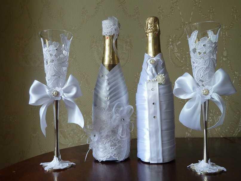 Украшение бутылок шампанского лентами своими руками мастер класс фото 858