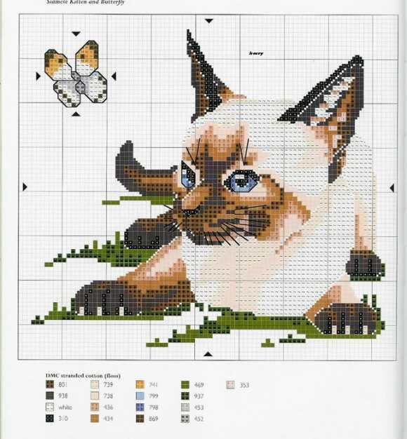 Схема для вышивки две кошки