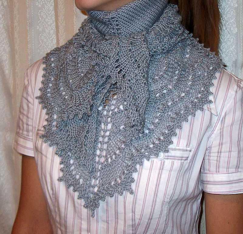 вязание ажурной косынки и платка спицами по схеме с описанием