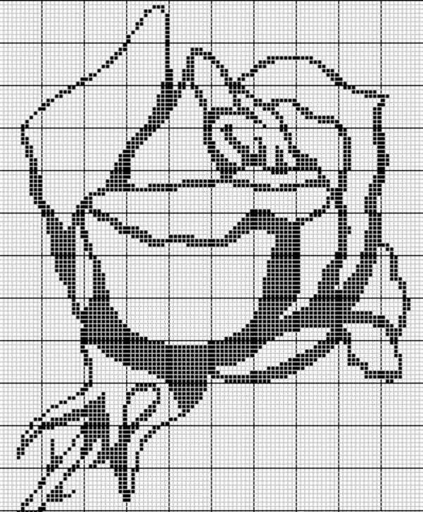 Вышивка розы крестом черно-белая