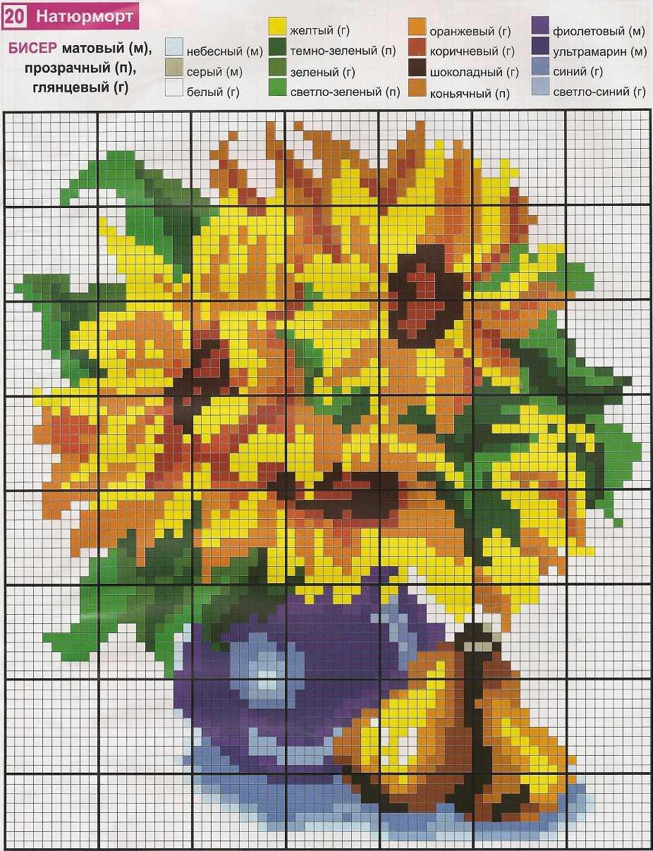 Схемы вышивки до 20 цветов