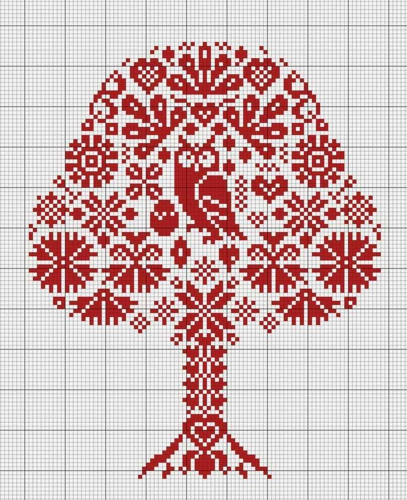денеэное дерево схема вышивки