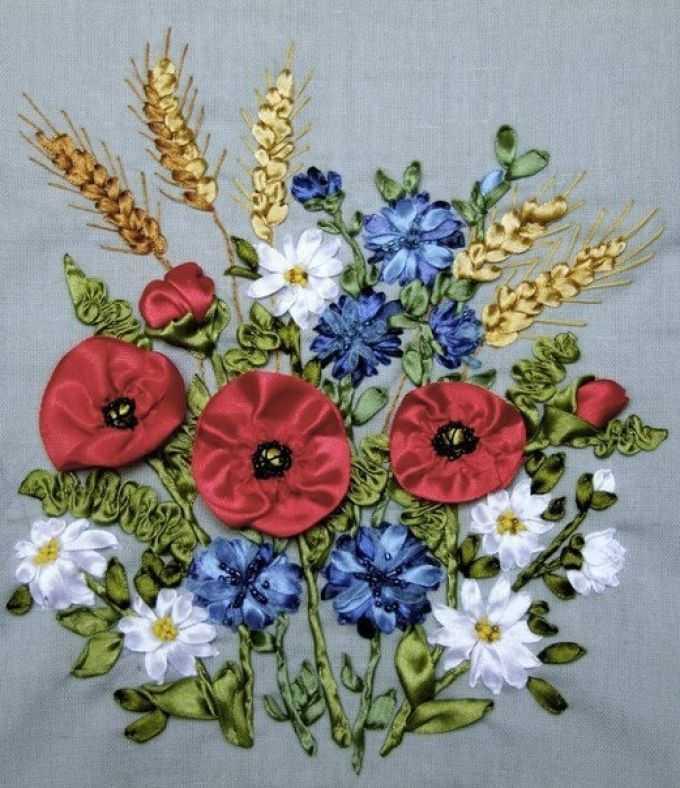Вышивка лентами маки и другие полевые цветы (фото) 50a3f12938a46